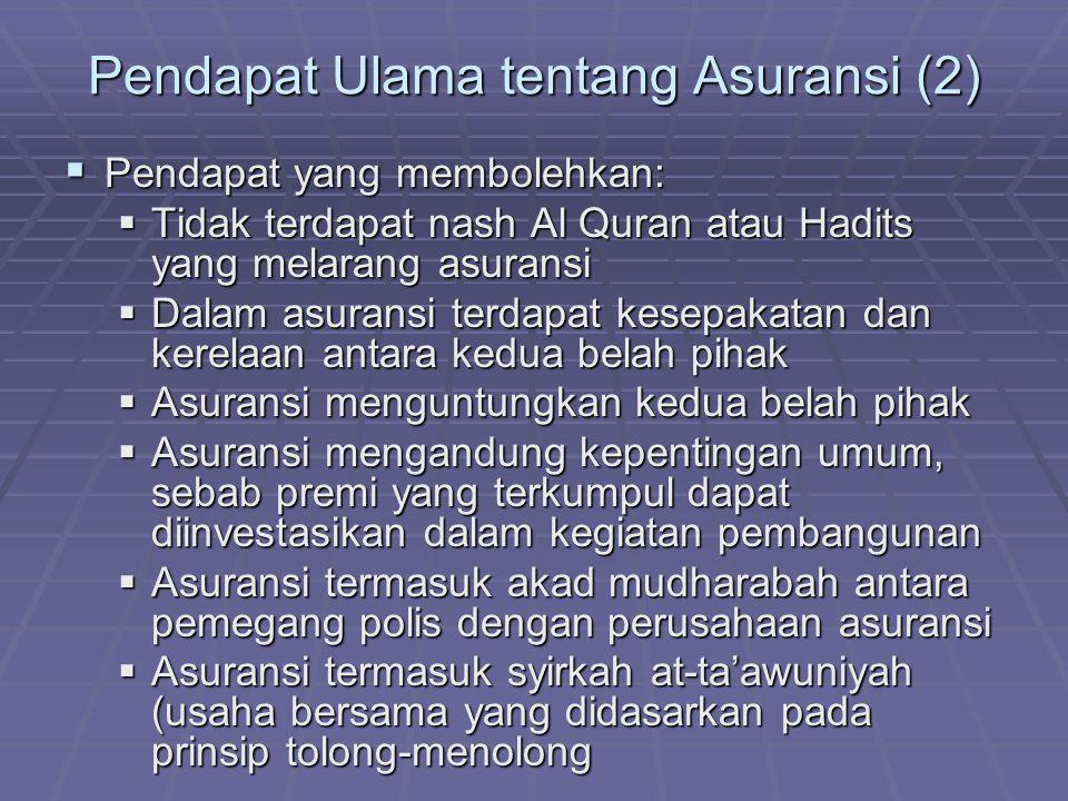 Pendapat Ulama tentang Asuransi (2)
