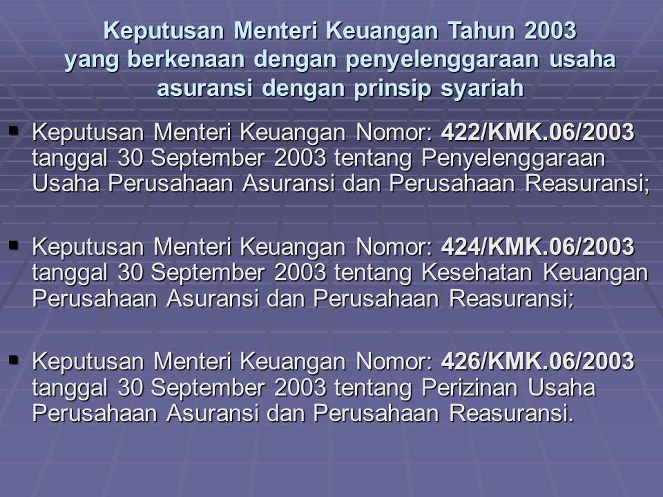 Keputusan Menteri Keuangan Tahun 2003 yang berkenaan dengan penyelenggaraan usaha asuransi dengan prinsip syariah