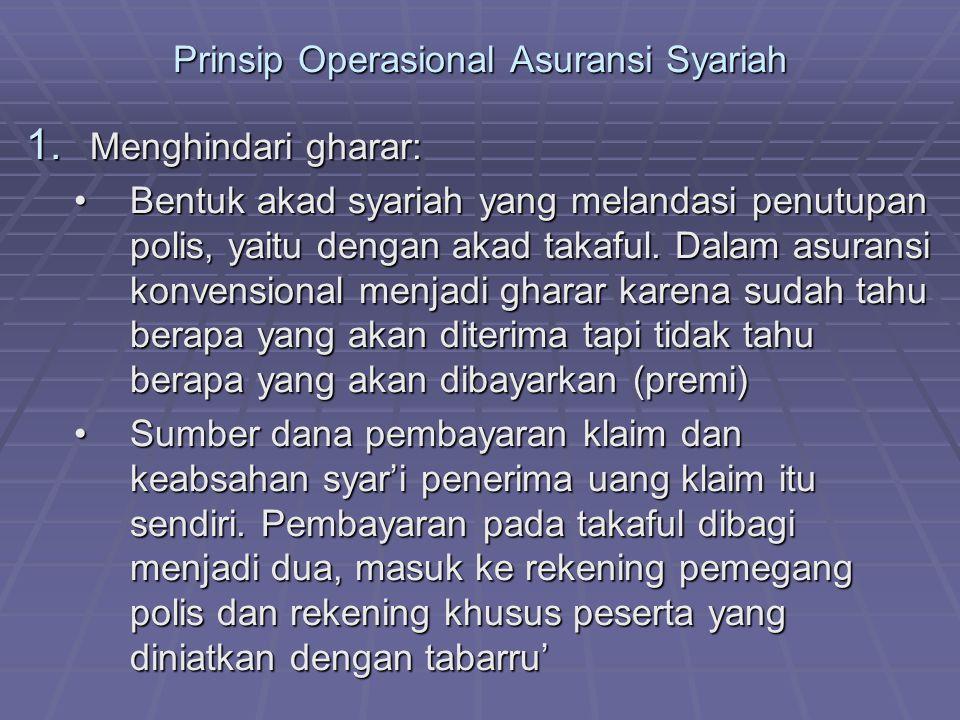 Prinsip Operasional Asuransi Syariah