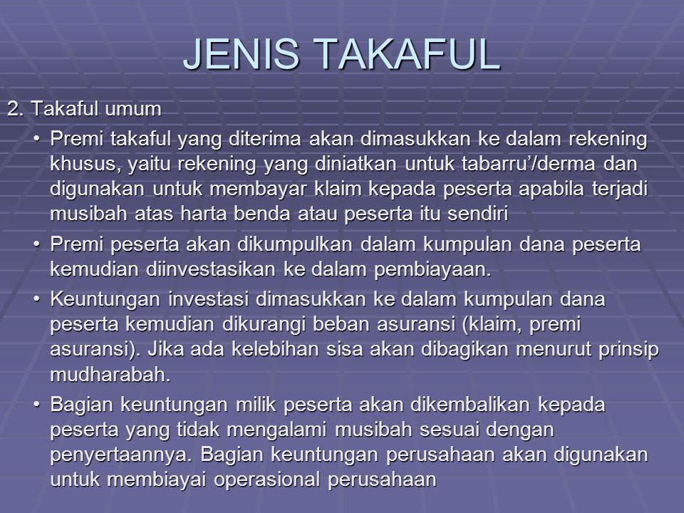 JENIS TAKAFUL 2. Takaful umum
