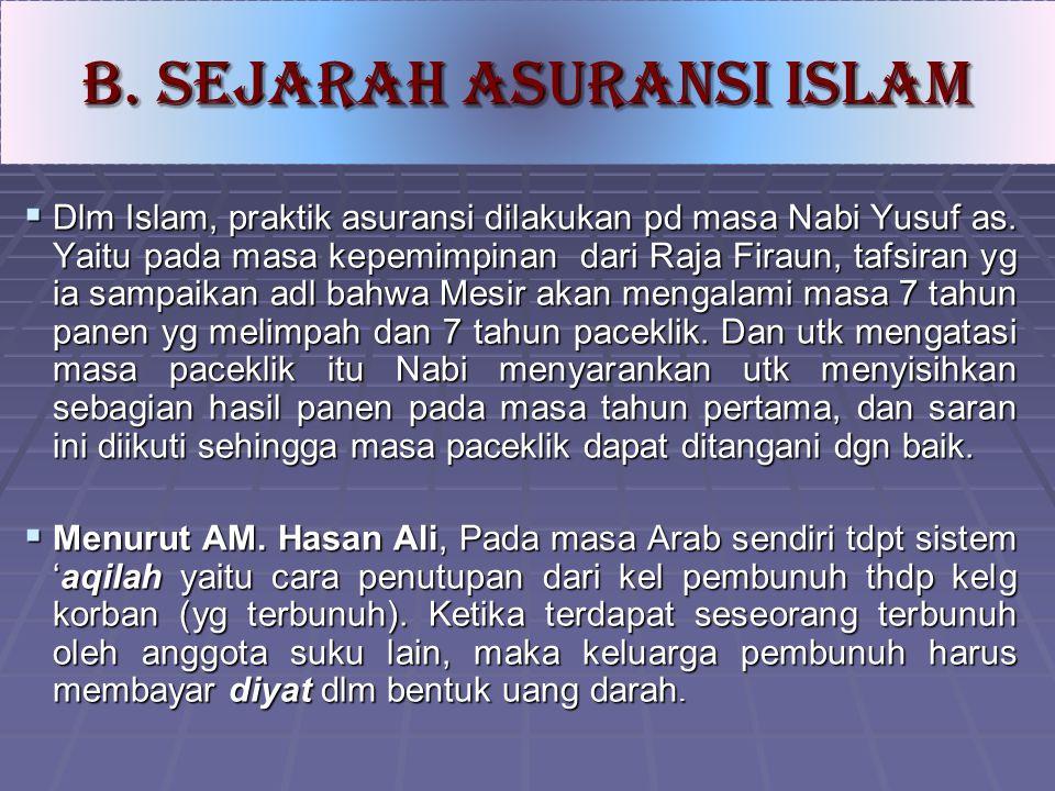B. SEJARAH ASURANSI ISLAM