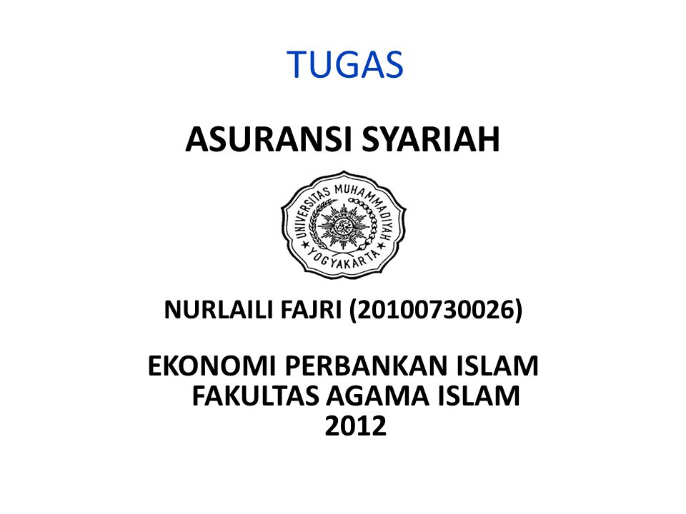 EKONOMI PERBANKAN ISLAM FAKULTAS AGAMA ISLAM 2012
