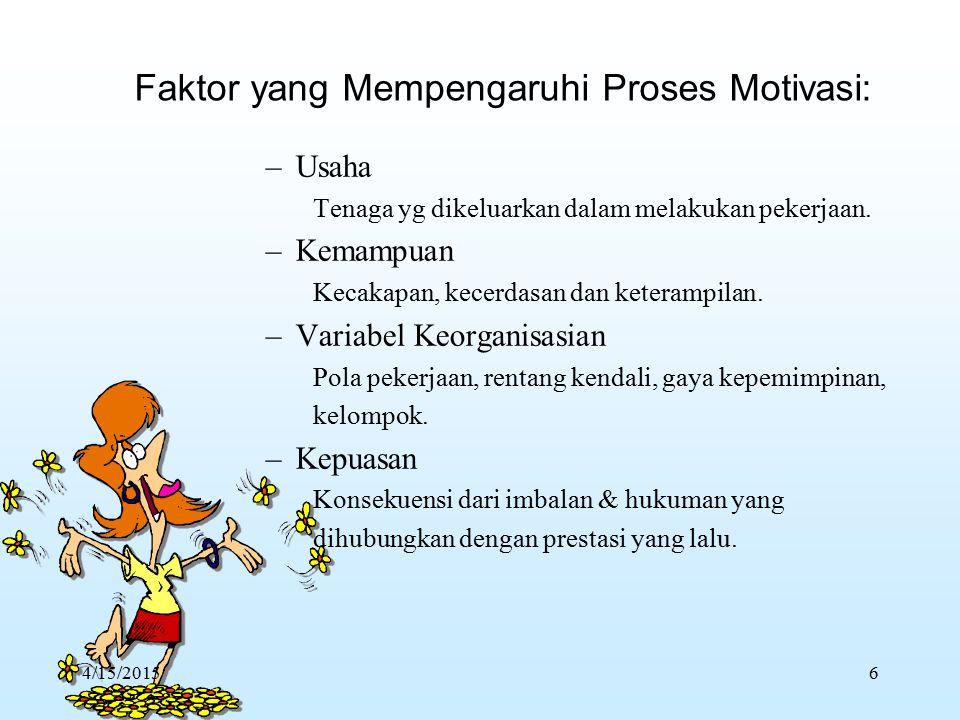 Faktor yang Mempengaruhi Proses Motivasi: