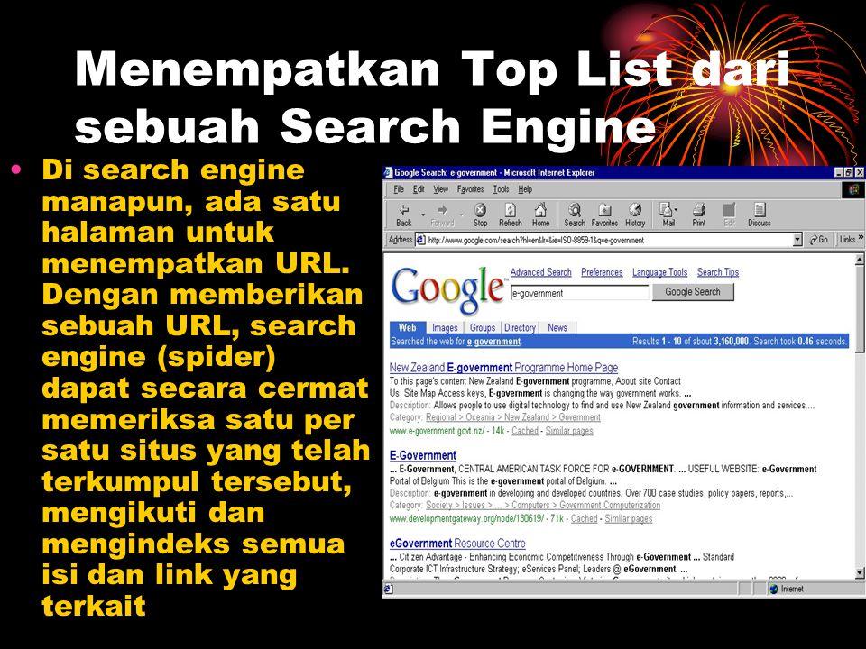 Menempatkan Top List dari sebuah Search Engine