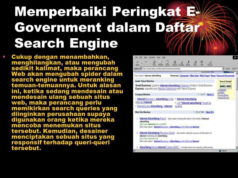 Memperbaiki Peringkat E-Government dalam Daftar Search Engine