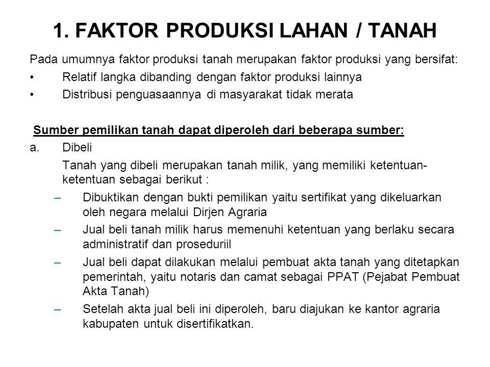 1. FAKTOR PRODUKSI LAHAN / TANAH