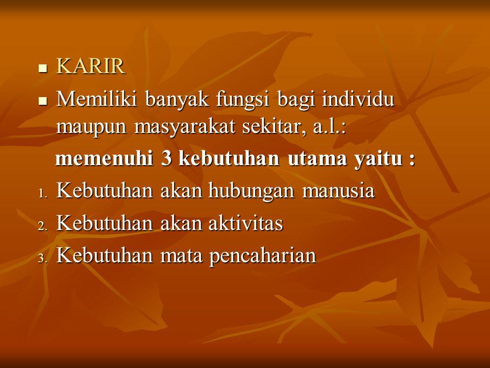 KARIR Memiliki banyak fungsi bagi individu maupun masyarakat sekitar, a.l.: memenuhi 3 kebutuhan utama yaitu :