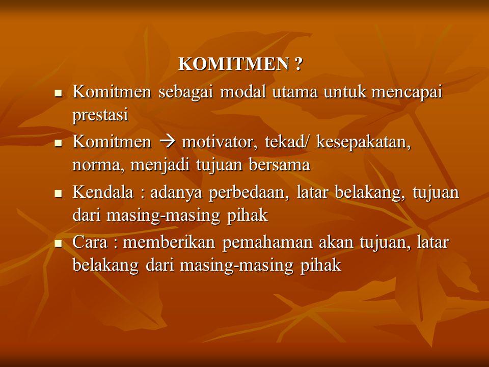 KOMITMEN Komitmen sebagai modal utama untuk mencapai prestasi. Komitmen  motivator, tekad/ kesepakatan, norma, menjadi tujuan bersama.