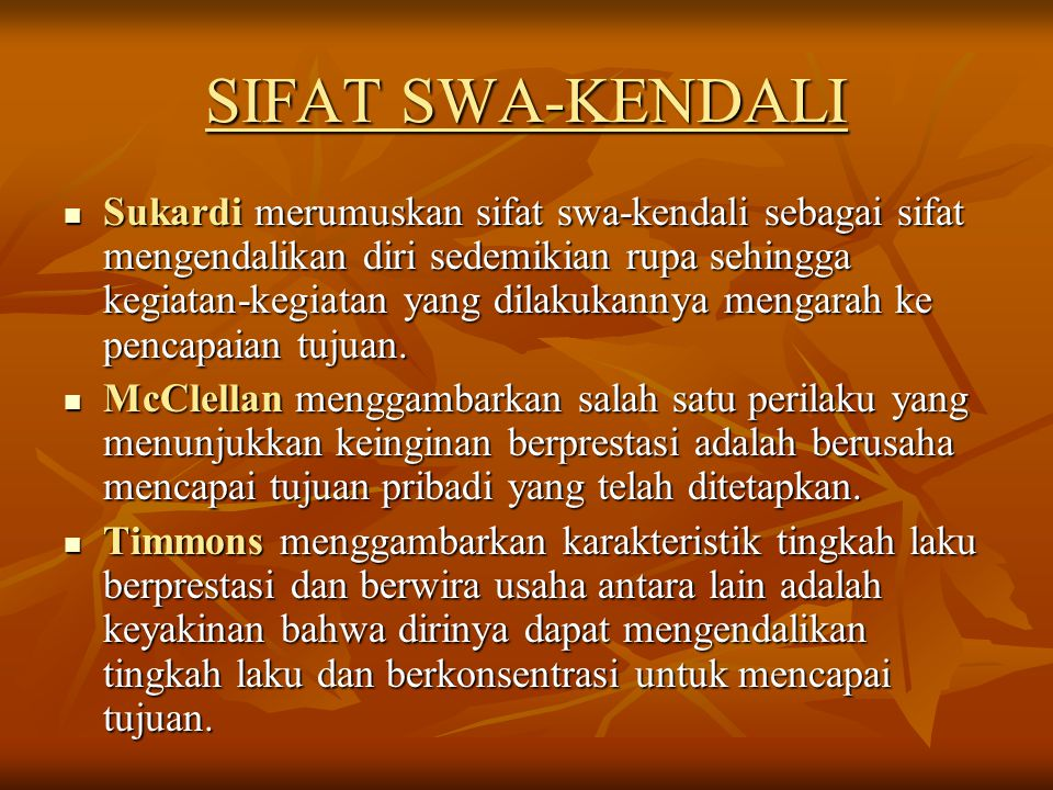 SIFAT SWA-KENDALI