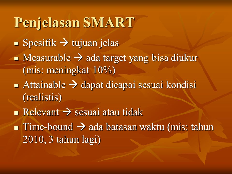 Penjelasan SMART Spesifik  tujuan jelas