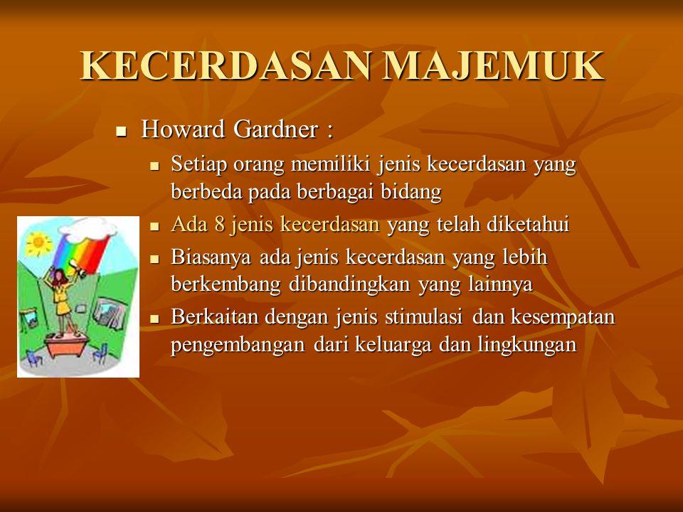 KECERDASAN MAJEMUK Howard Gardner :