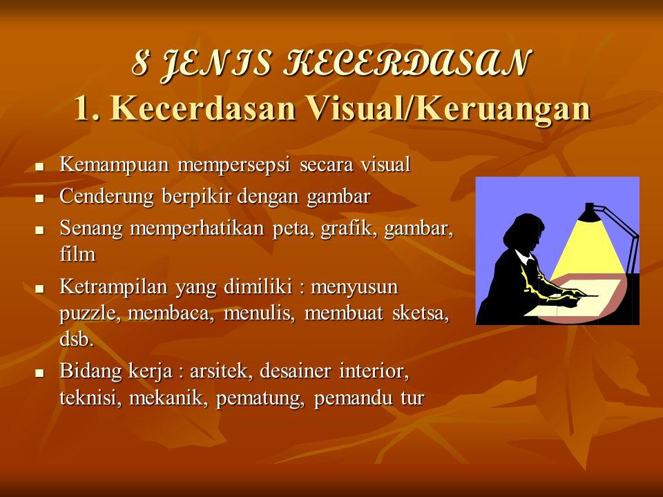 8 JENIS KECERDASAN 1. Kecerdasan Visual/Keruangan