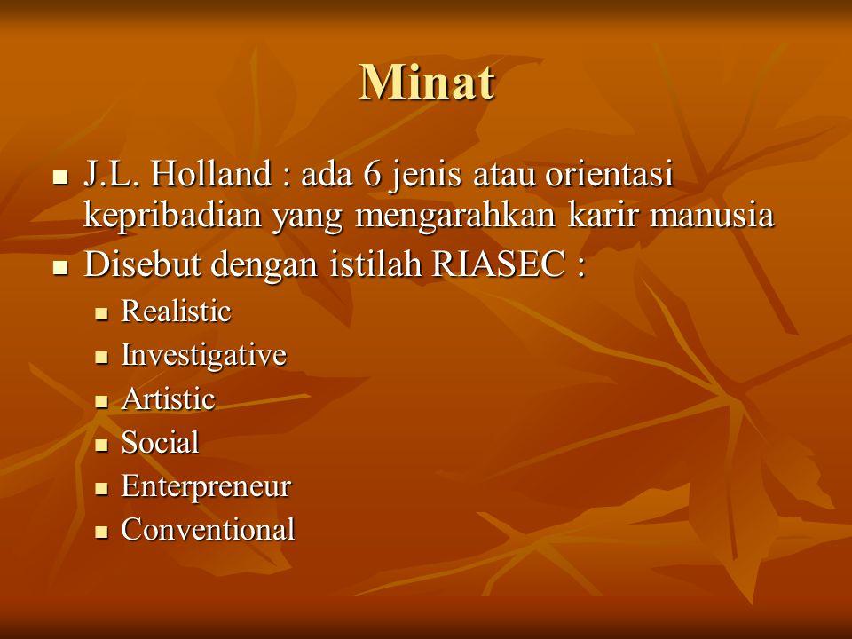Minat J.L. Holland : ada 6 jenis atau orientasi kepribadian yang mengarahkan karir manusia. Disebut dengan istilah RIASEC :