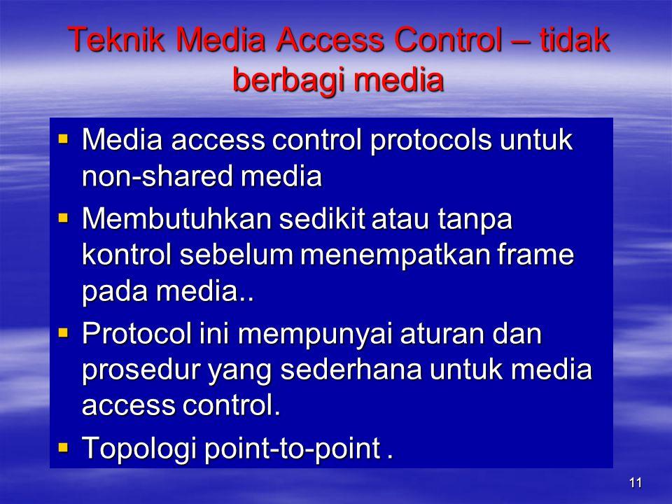 Teknik Media Access Control – tidak berbagi media