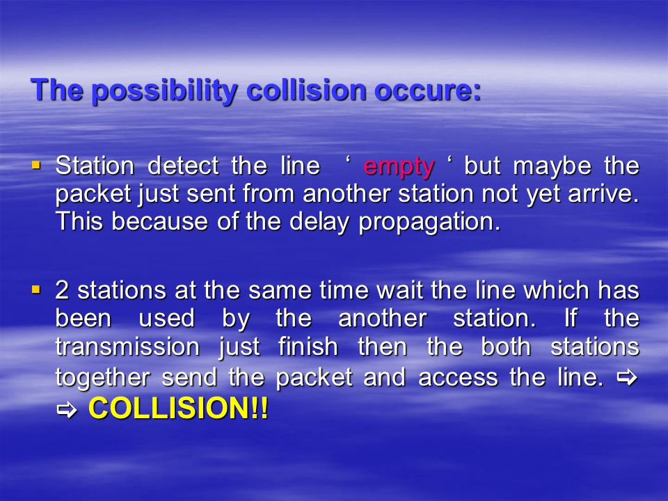 The possibility collision occure: