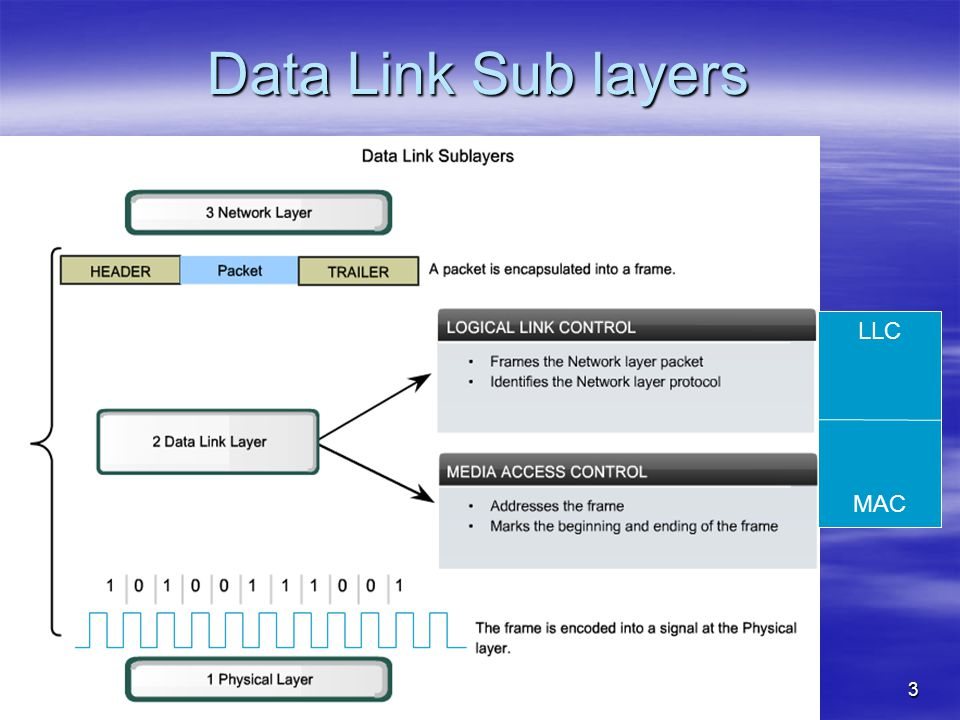 Data Link Sub layers LLC MAC