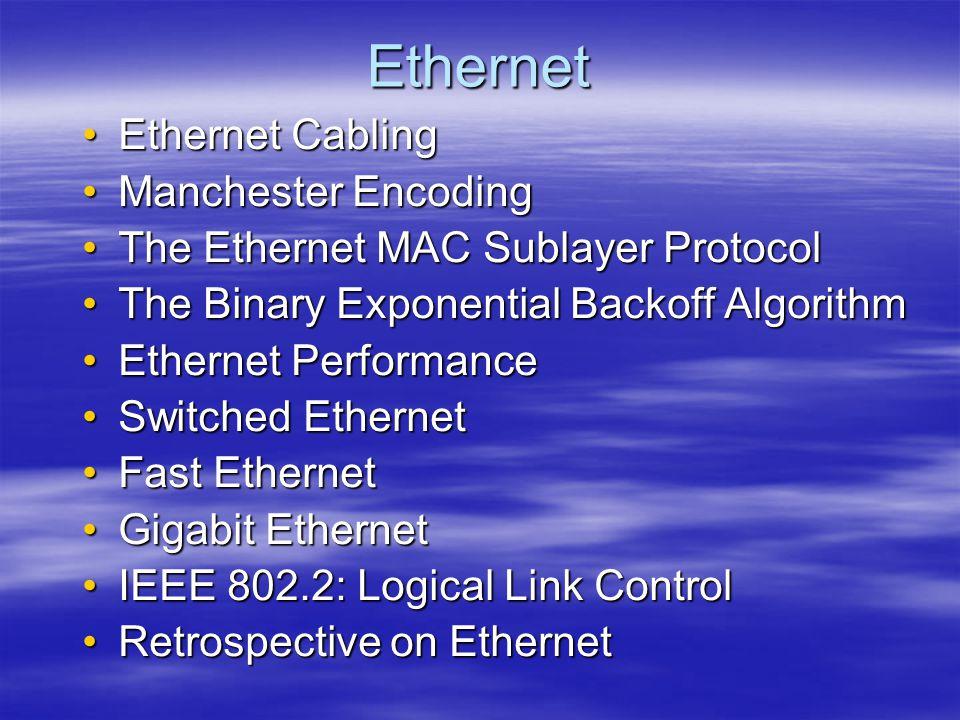 Ethernet Ethernet Cabling Manchester Encoding