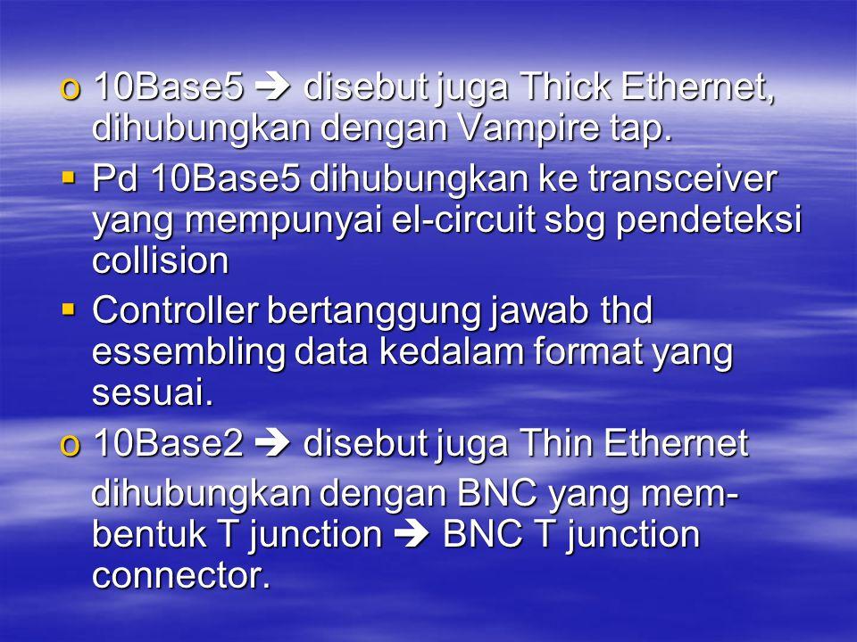 10Base5  disebut juga Thick Ethernet, dihubungkan dengan Vampire tap.
