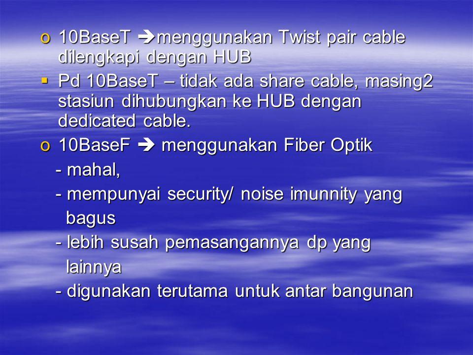 10BaseT menggunakan Twist pair cable dilengkapi dengan HUB