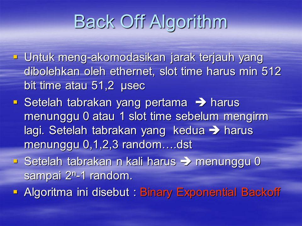 Back Off Algorithm Untuk meng-akomodasikan jarak terjauh yang dibolehkan oleh ethernet, slot time harus min 512 bit time atau 51,2 µsec.