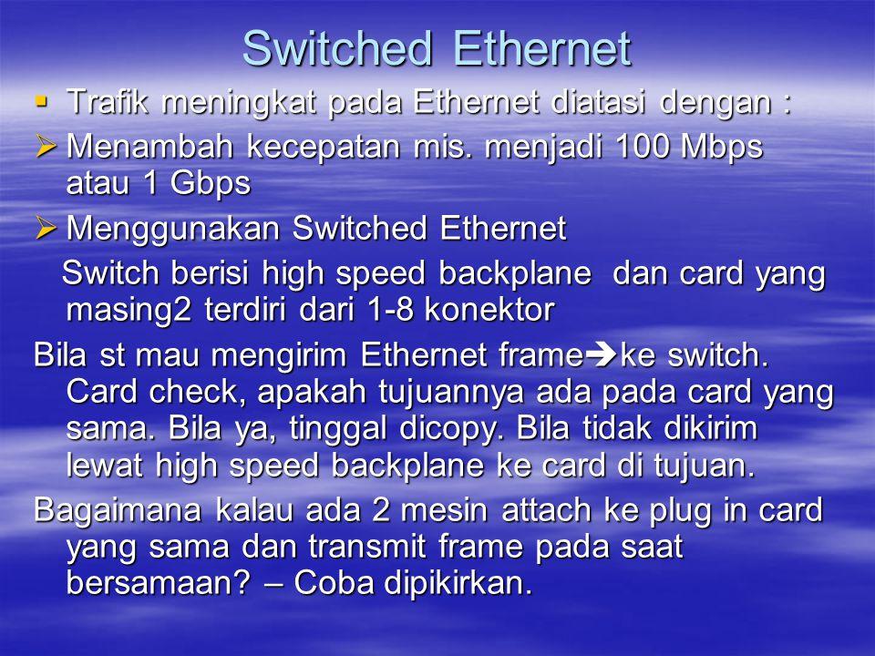 Switched Ethernet Trafik meningkat pada Ethernet diatasi dengan :