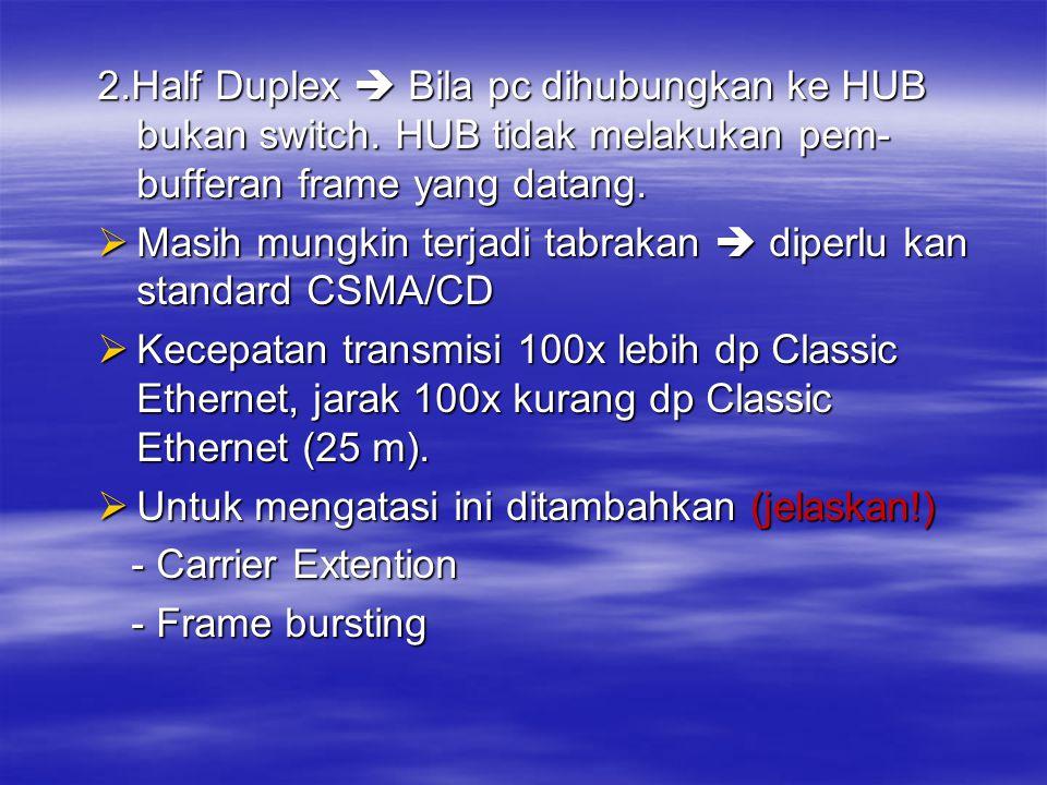 2. Half Duplex  Bila pc dihubungkan ke HUB bukan switch
