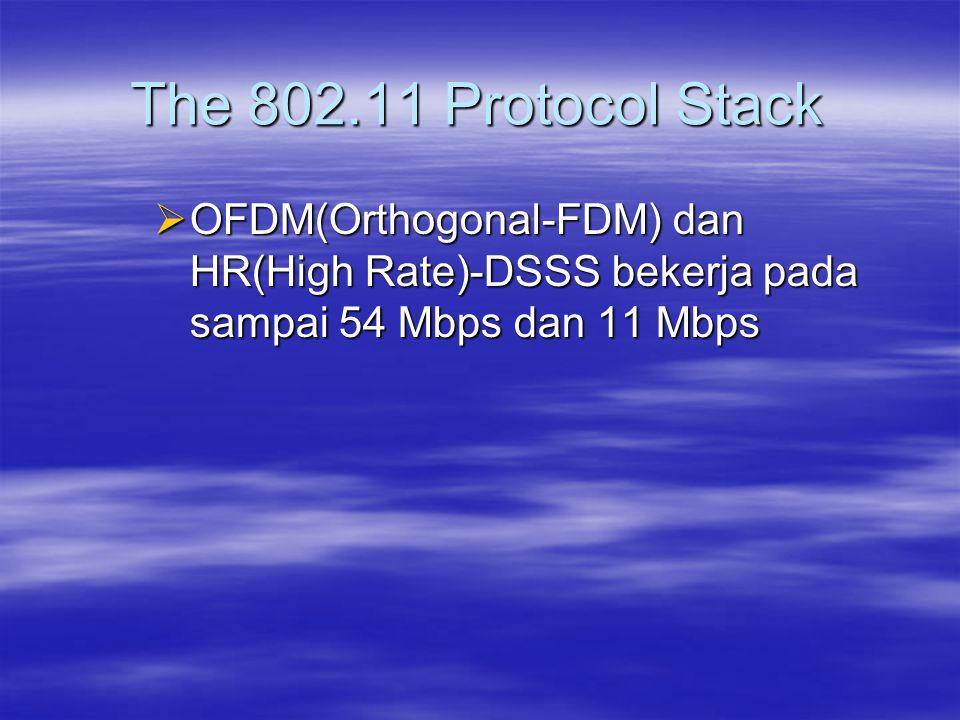 The 802.11 Protocol Stack OFDM(Orthogonal-FDM) dan HR(High Rate)-DSSS bekerja pada sampai 54 Mbps dan 11 Mbps.