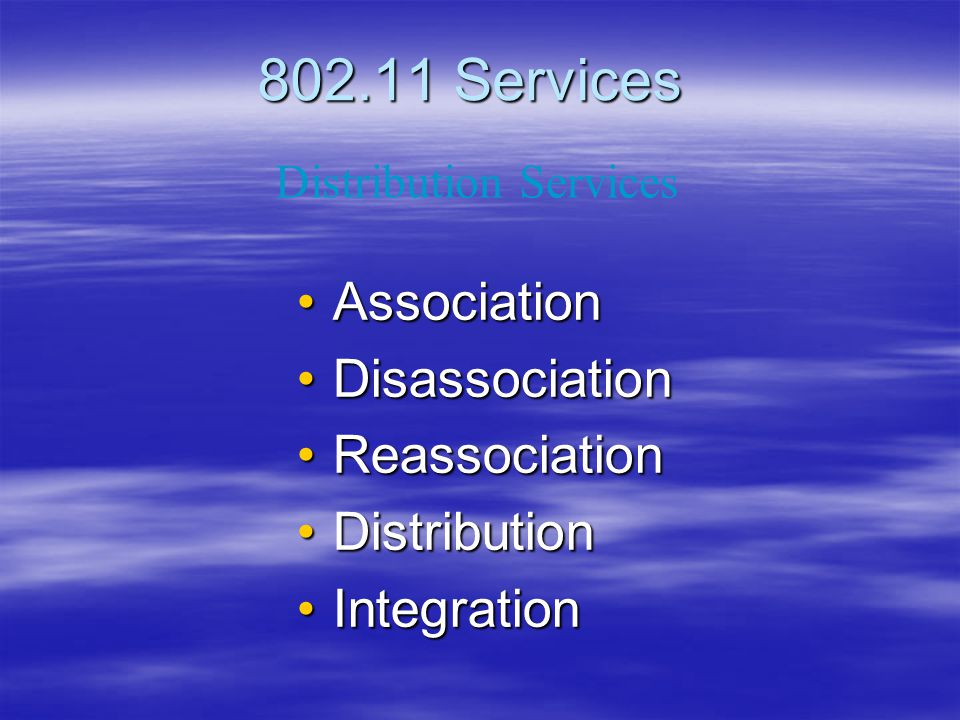 802.11 Services Association Disassociation Reassociation Distribution