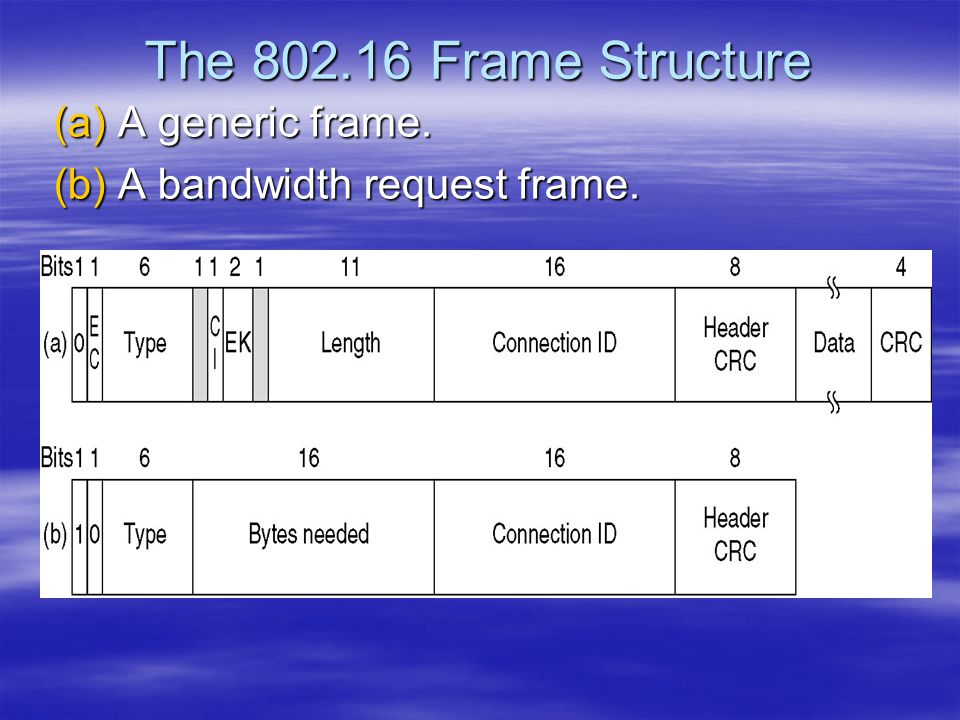 The 802.16 Frame Structure A generic frame. A bandwidth request frame.