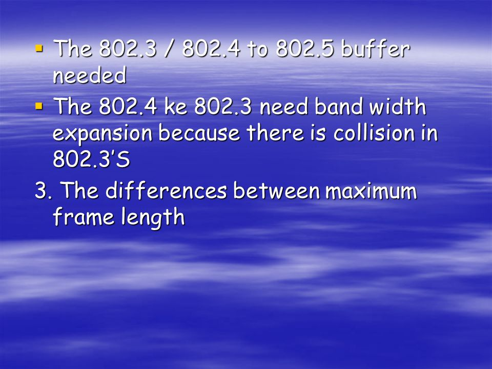 The 802.3 / 802.4 to 802.5 buffer needed The 802.4 ke 802.3 need band width expansion because there is collision in 802.3'S.