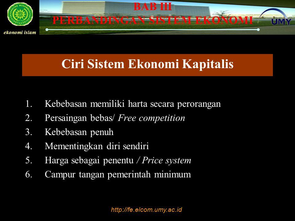 Ciri Sistem Ekonomi Kapitalis