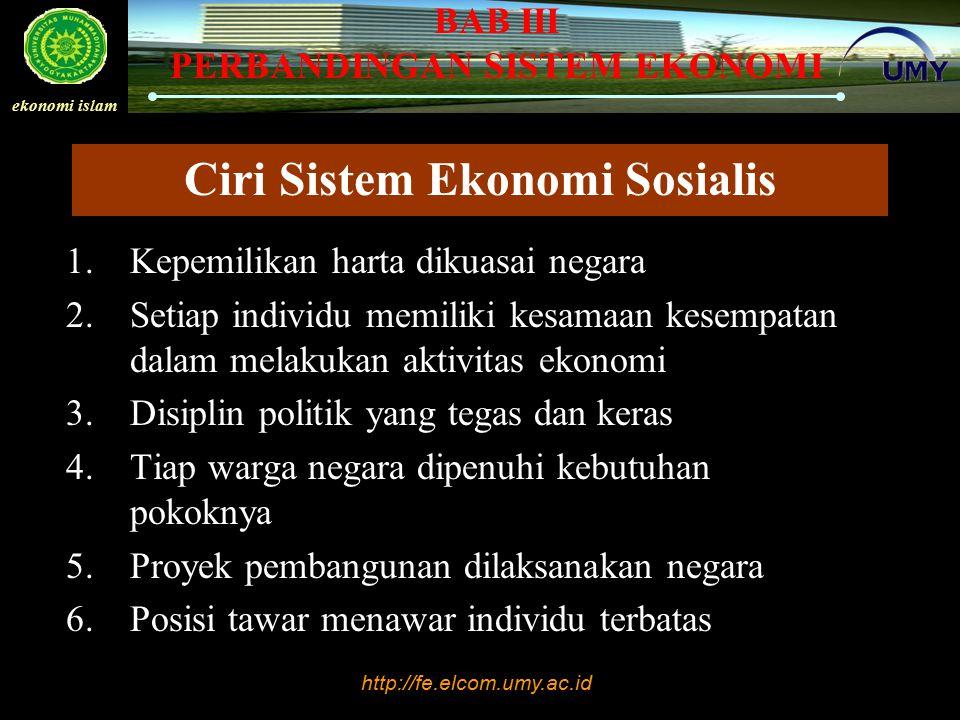 Ciri Sistem Ekonomi Sosialis