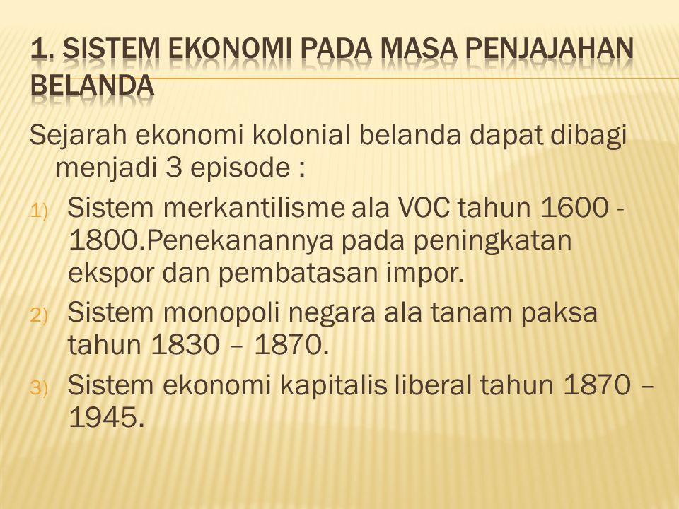 1. Sistem ekonomi pada masa penjajahan belanda