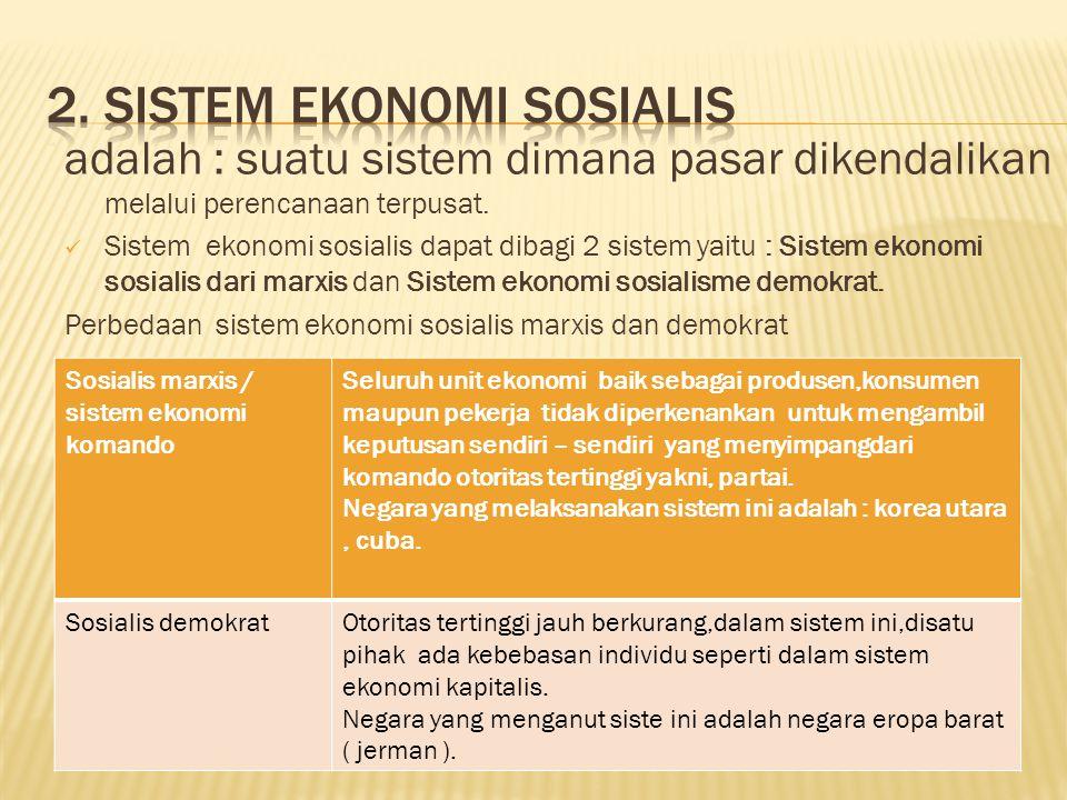 2. Sistem ekonomi sosialis