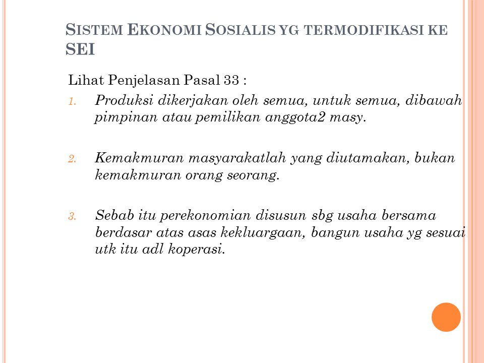 Sistem Ekonomi Sosialis yg termodifikasi ke SEI