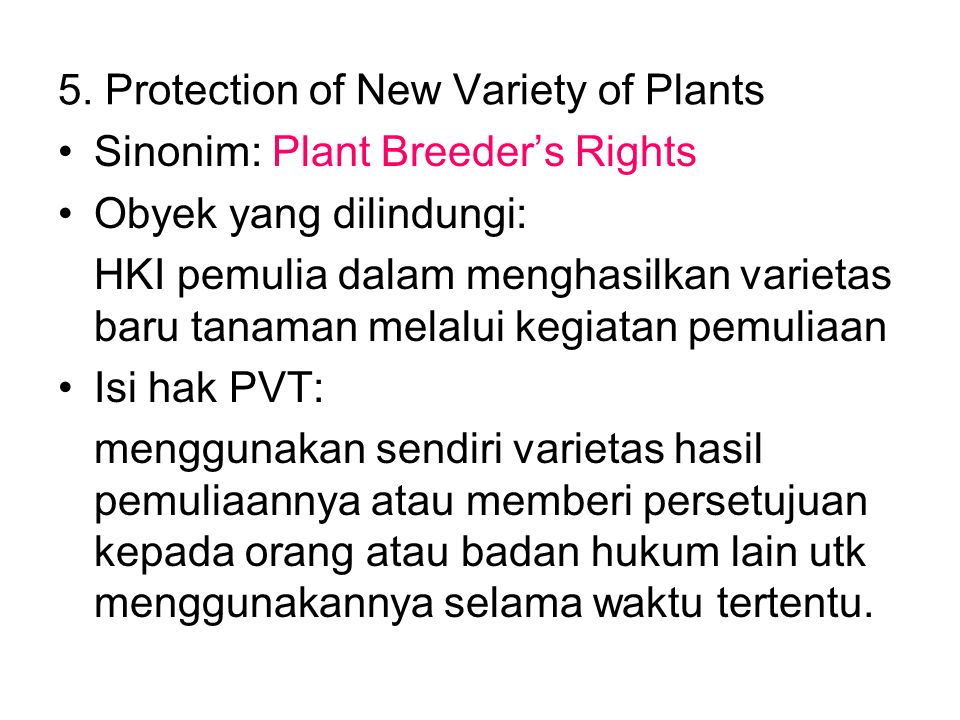5. Protection of New Variety of Plants