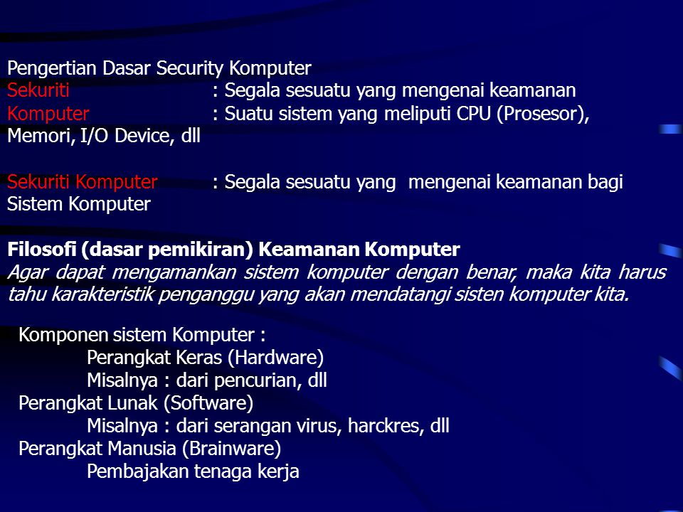 Pengertian Dasar Security Komputer