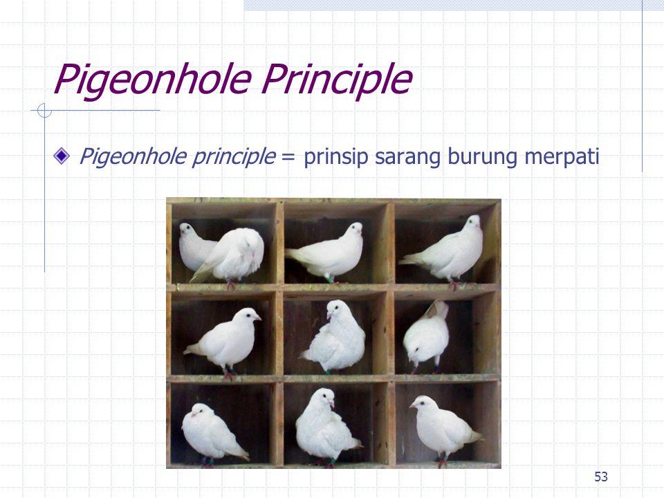 Pigeonhole Principle Pigeonhole principle = prinsip sarang burung merpati