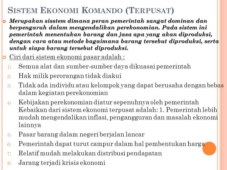 Sistem Ekonomi Komando (Terpusat)