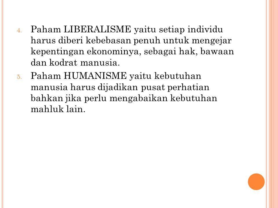 Paham LIBERALISME yaitu setiap individu harus diberi kebebasan penuh untuk mengejar kepentingan ekonominya, sebagai hak, bawaan dan kodrat manusia.