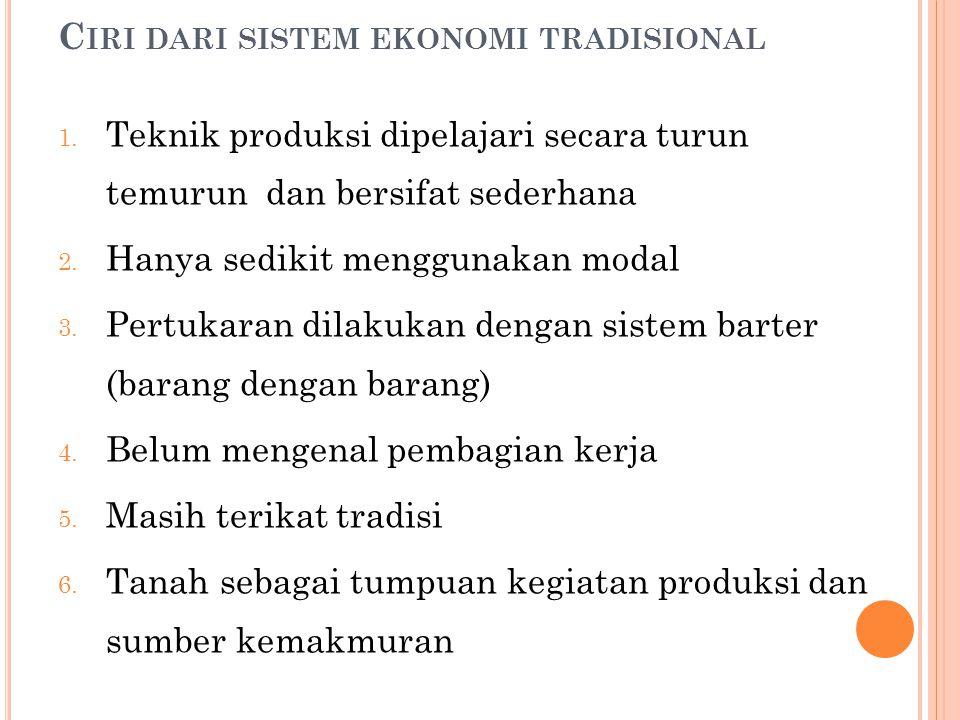 Ciri dari sistem ekonomi tradisional
