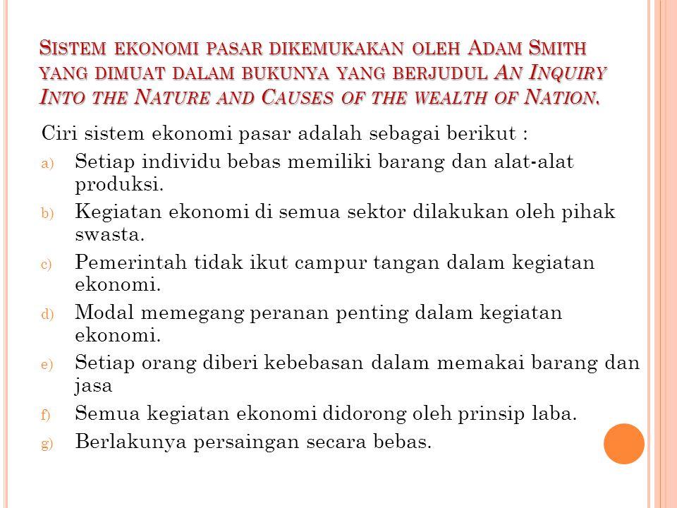 Sistem ekonomi pasar dikemukakan oleh Adam Smith yang dimuat dalam bukunya yang berjudul An Inquiry Into the Nature and Causes of the wealth of Nation.