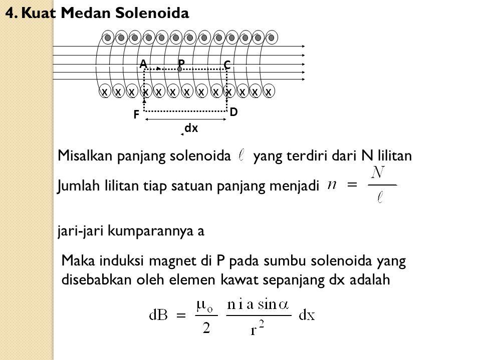 Misalkan panjang solenoida yang terdiri dari N lilitan