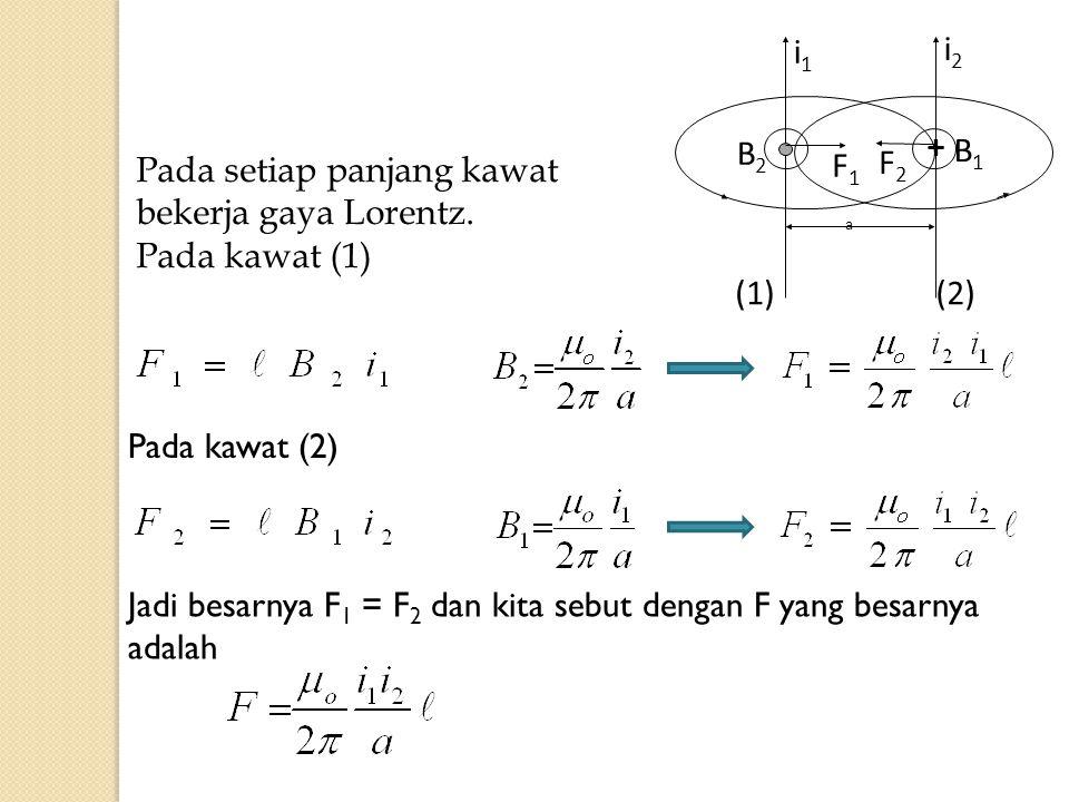 Pada setiap panjang kawat bekerja gaya Lorentz. Pada kawat (1)