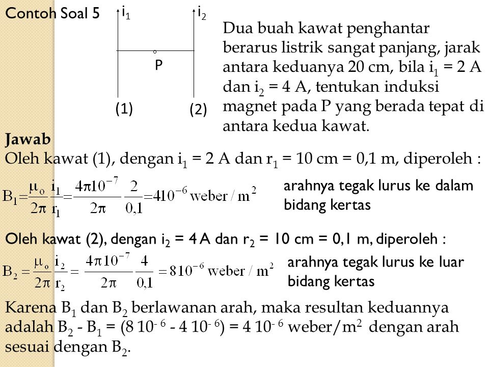 Contoh Soal 5 i2. i1. P. (2) (1)