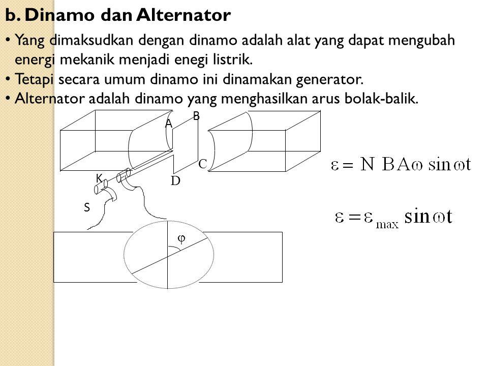 b. Dinamo dan Alternator