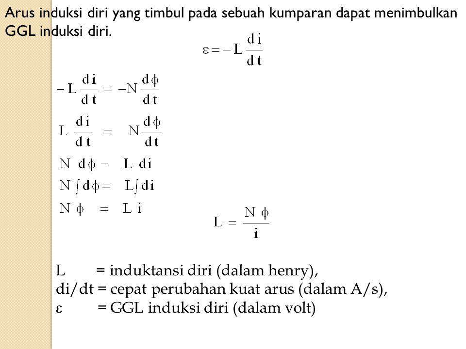 Arus induksi diri yang timbul pada sebuah kumparan dapat menimbulkan GGL induksi diri.