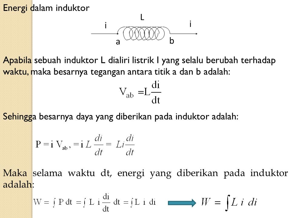 Energi dalam induktor L. i. b. a.