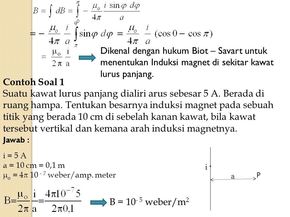 Dikenal dengan hukum Biot – Savart untuk menentukan Induksi magnet di sekitar kawat lurus panjang.