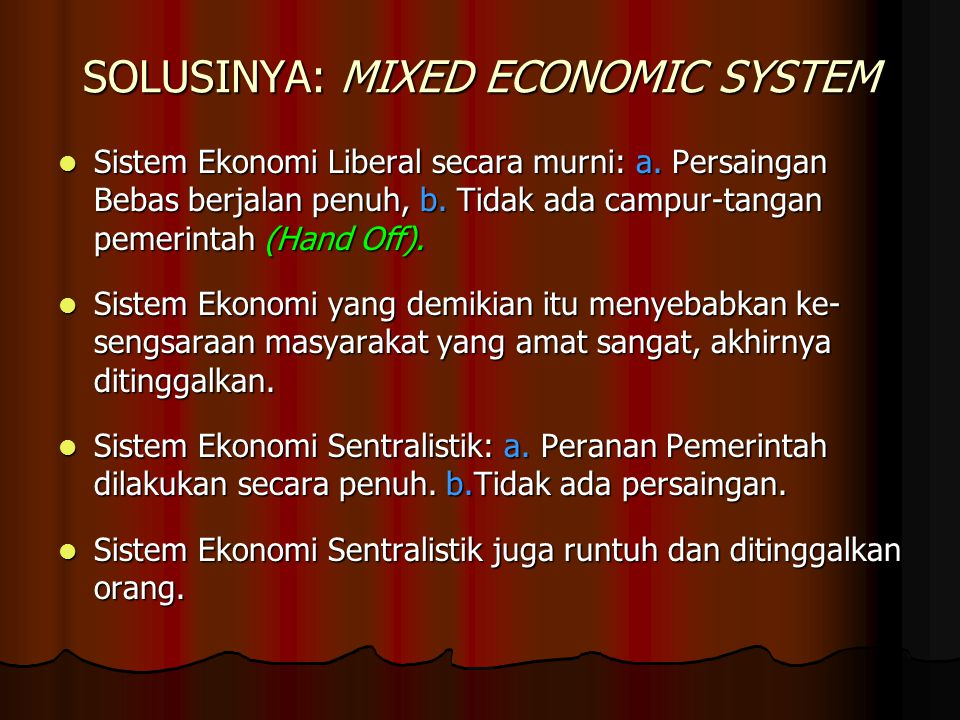 SOLUSINYA: MIXED ECONOMIC SYSTEM